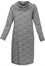 Black/White Jacquard Long Sleeve Knit Sweater Dress
