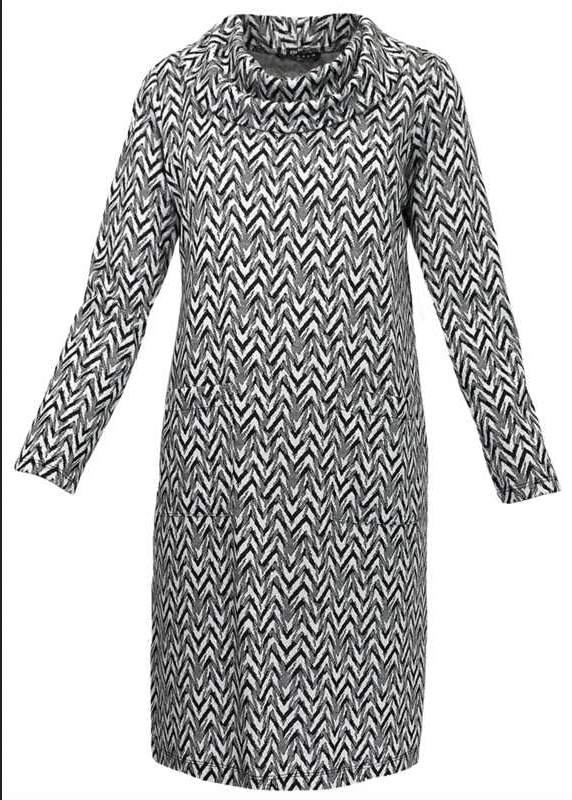 N TOUCH Black/White Jacquard Long Sleeve Knit Sweater Dress