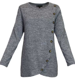 Silvery Grey Long Sleeve Button Top