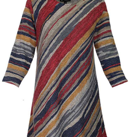 Navy/Red Multi Striped Long Sleeve Blouse