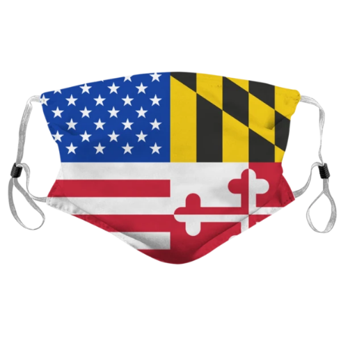 Maryland & American Flag / Face Mask