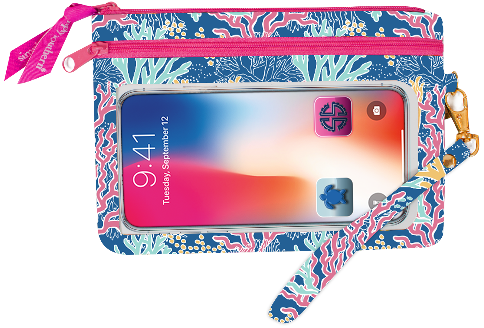 Simply Southern Phone Wristlet - Coral Reef