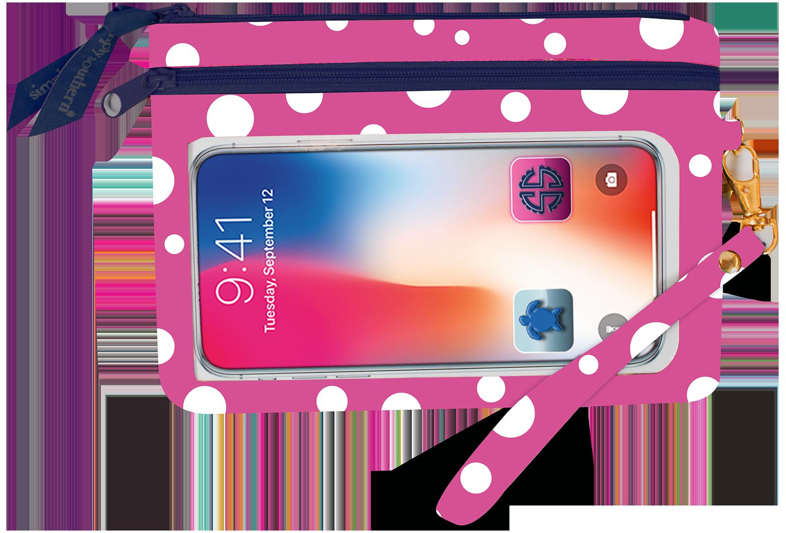 Simply Southern Phone Wristlet - Pink Polka Dot