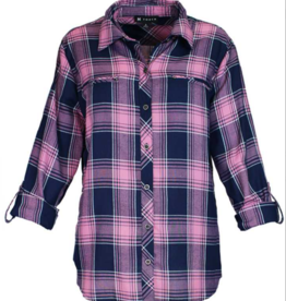 Navy/Orchid Plaid Long Sleeve Top