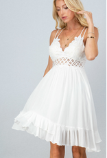 Lace Bust Ruffle Cami Dress