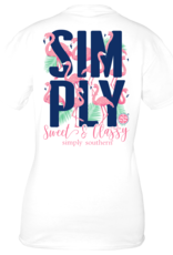 Simply Southern SS White with Flamingos and Palm