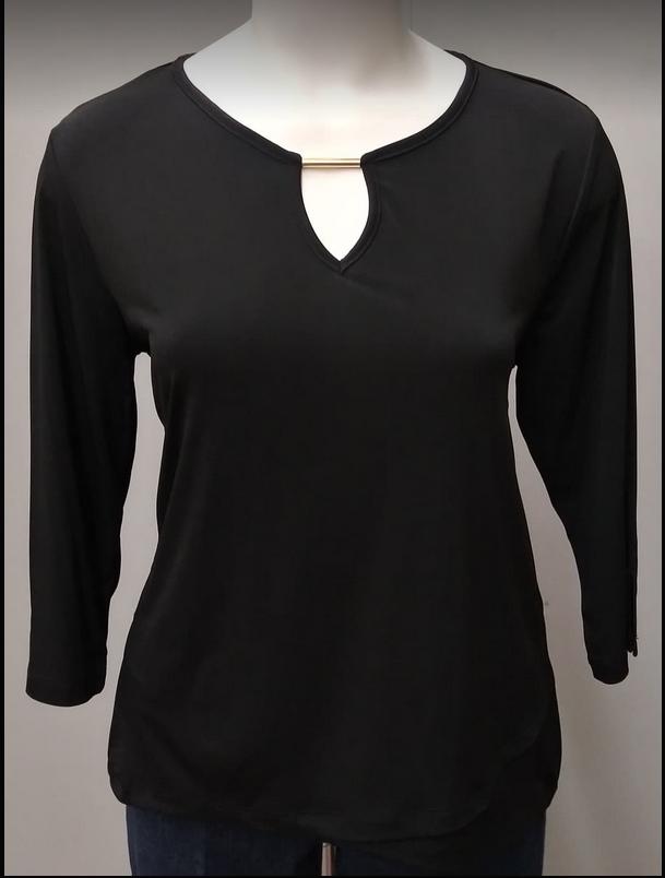3/4 Sleeve Tybee Knit Top, Black