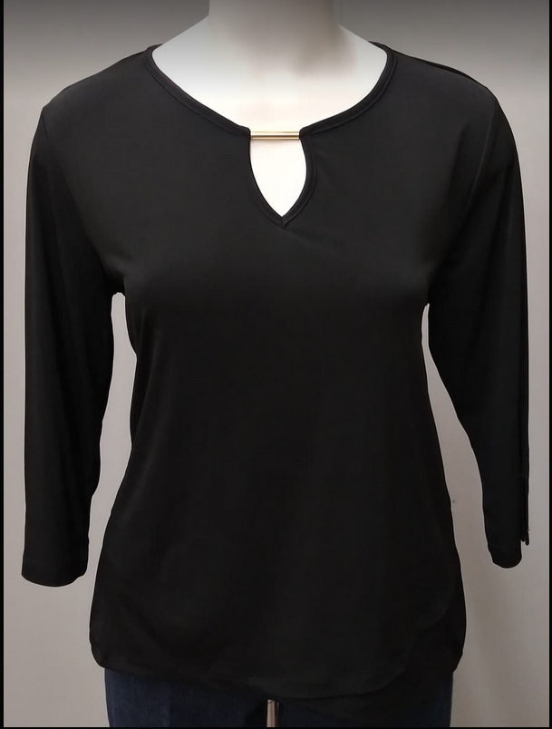 SOUTHERN LADY 3/4 Sleeve Tybee Knit Top, Black