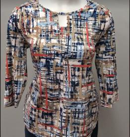 Denim/Ocean Front Printed Long Sleeve Top