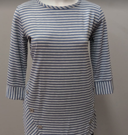 N TOUCH Grey Heather/Blue Long Sleeve Textured Top