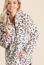 A Beauty by BNB FAUX SHEARING COLLARED LEOPARD PRINT SWEATSHIRT
