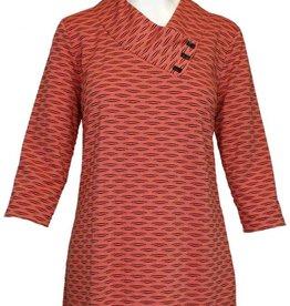 Sahara Blush/Black 3/4 Sleeve Nelia Novelty Knit Top