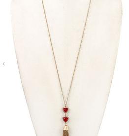 Andrea Bijoux Faceted Stone Link Chain Tassel Necklace Set