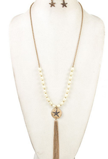 Andrea Bijoux Pearl Link Star Etched Disk Pendent Necklace Set
