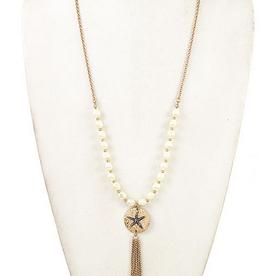 Andrea Bijoux Pearl Link Star Etched Disk Pendent Necklace Set