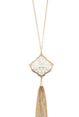 Andrea Bijoux Filigree Link Chain Tassel Pendant Necklace Set