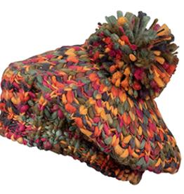 Broner Hats Chunky Knit Beret with Pom, Rainbow