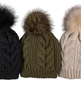Broner Hats Cable Knit Beanie, FauxFur Pom,Asst Clrs