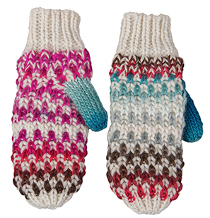 Broner Hats Ladies Hand Knit Multi-Colored Mitten