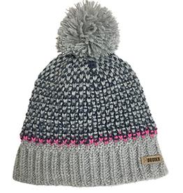 Broner Hats Grey 2-Tone Acrylic Knit Beanie, Pom Top