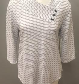 White/Black 3/4 Sleeve Nelia Novelty Knit Top