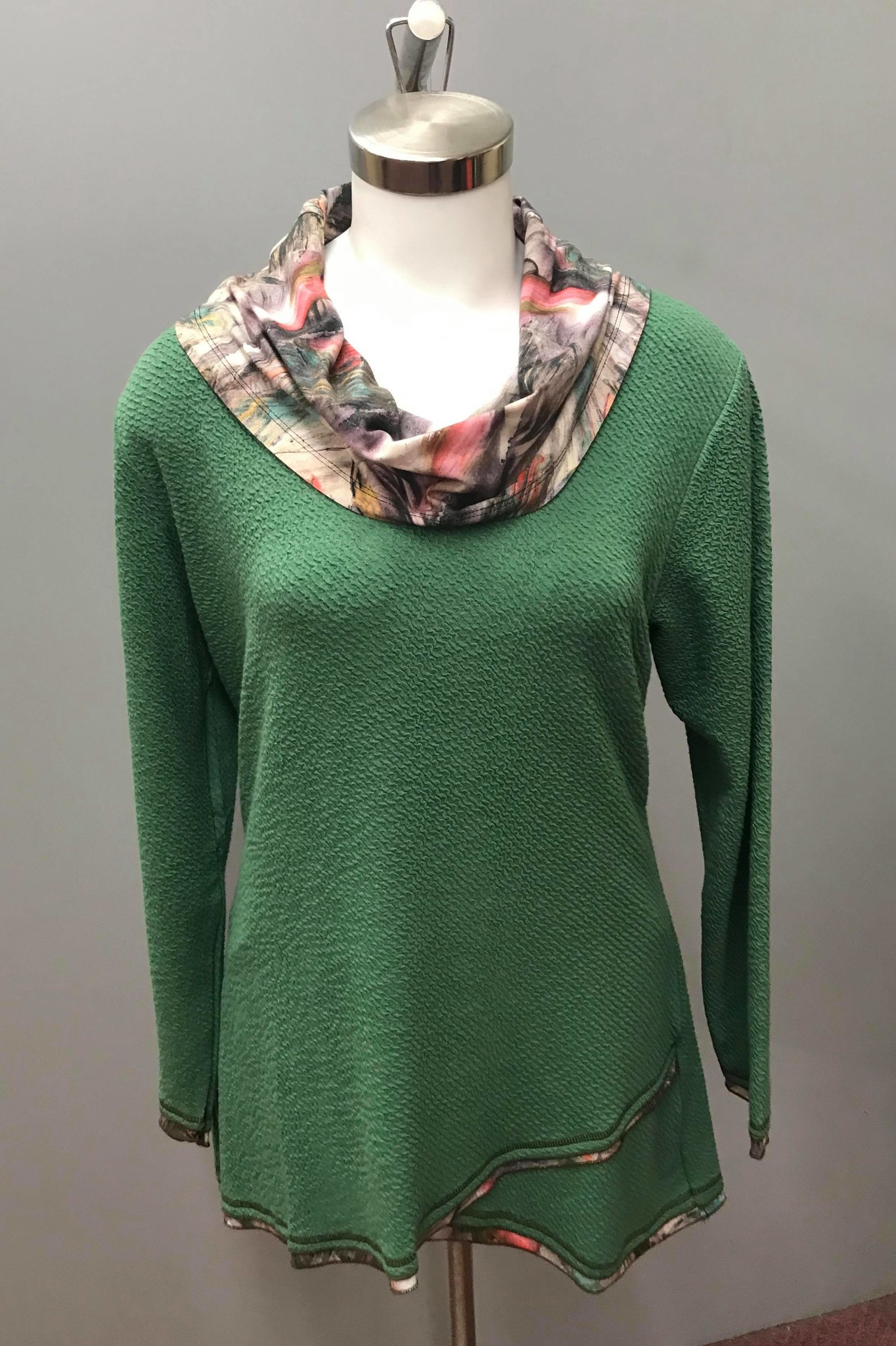 Parsley & Sage Cowl Tunic, Green Multi