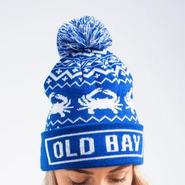 Old Bay Brim & Chevron Crab (Blue with Multi-Pom) / Knit Beanie Cap