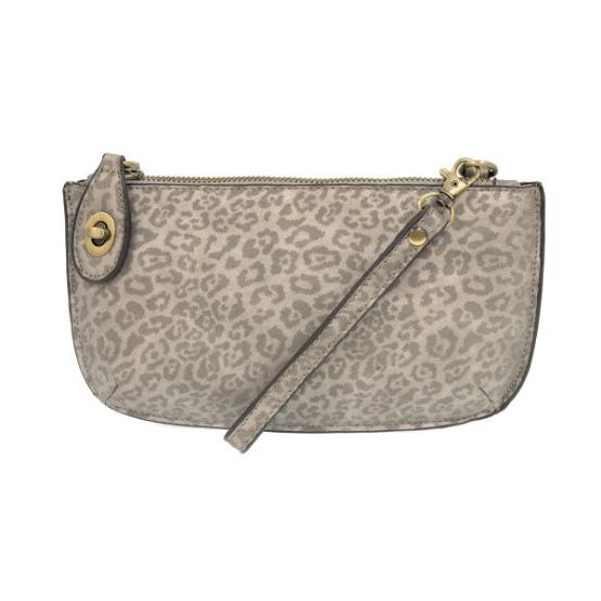 Joy Susan Tonal Leopard Crossbody Wristlet Clutch - Grey