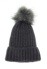 Joy Susan Single Cable Pom Pom Hat - Charcoal