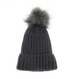 Joy Susan Single Cable Pom Pom Hat - Charcoal