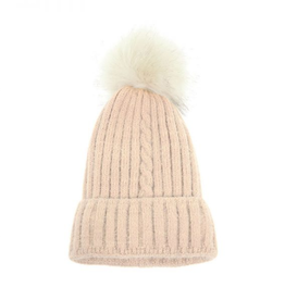 Joy Susan Single Cable Pom Pom Hat - Ivory