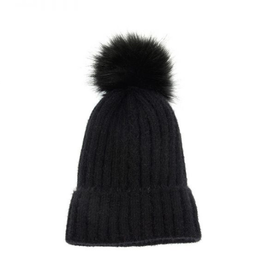 Joy Susan Single Cable Pom Pom Hat - Black