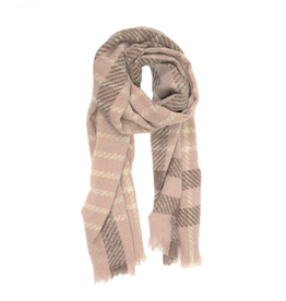 Joy Susan Windowpane Scarf - Dusty Pink