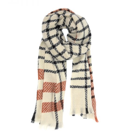 Joy Susan Windowpane Scarf - Ivory
