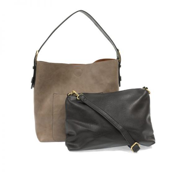 Joy Susan Classic Hobo Black Handle Handbag - Mushroom