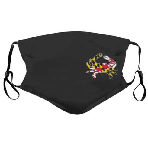 Side Maryland Flag Crab Face Mask