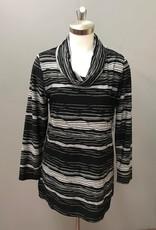 SOUTHERN LADY Snowcap/Black Long Sleve Kalie Novelty Stripe Top