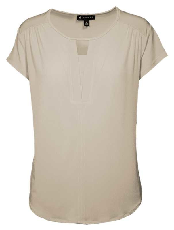 N TOUCH 3/4 Sleeve Colbie Shell, Sweet Cream