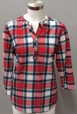LINKS Navy/Red Plaid Long Sleeve V-Neck 3 Button Top