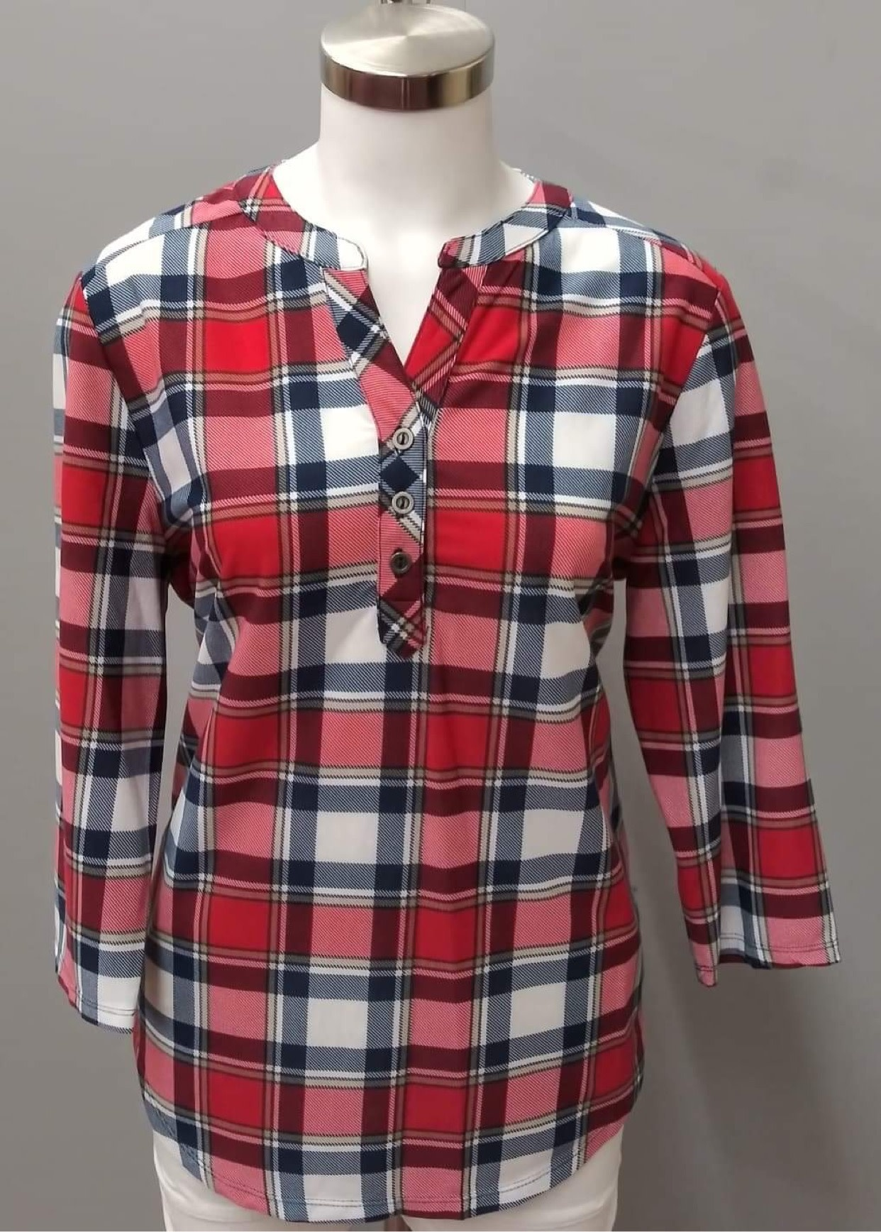 Navy/Red Plaid Long Sleeve V-Neck 3 Button Top