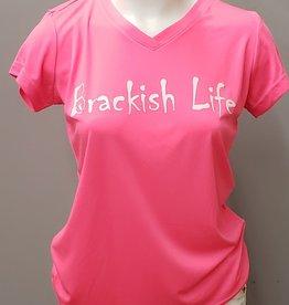 Brackish Life Coral S/S Performance UV Shirt, V-Neck