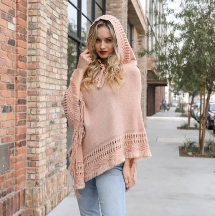 Leto Accessories Lace Up Knit Poncho w/Hood