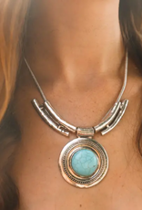 Leto Accessories Bullseye Turquoise Necklace