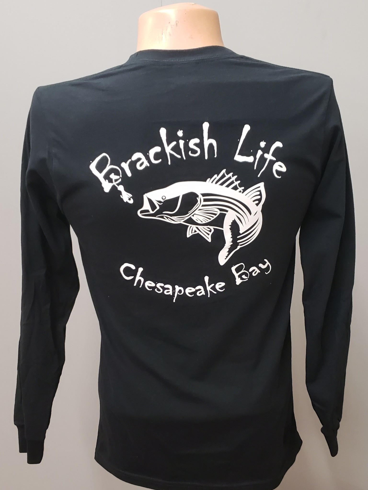 Brackish Life Black Super Soft L/S Tee, White Rockish