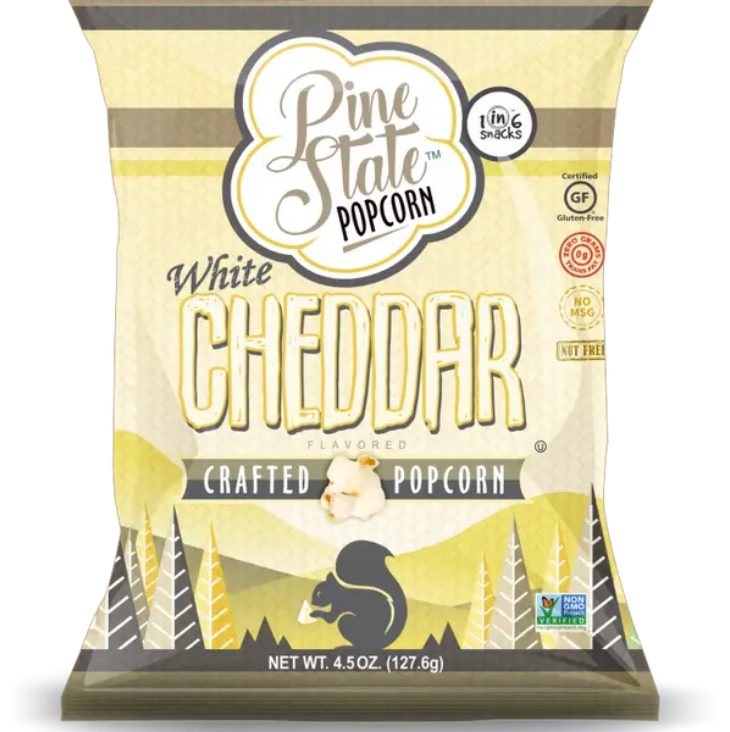 1 in 6 Snacks- Carolina Kettle chips- Rustic Roots 6 oz White Cheddar Popcorn
