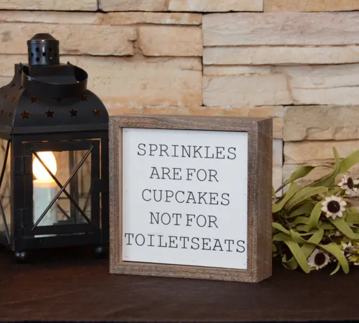 Driftless Studios 6X6 Sprinkles Are For Cupcakes Boys Bathroom Sign