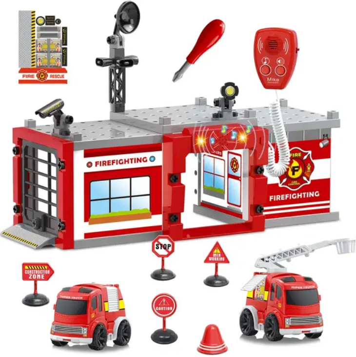 Fun Little Toys 61 PCs Fire Station Fireman Toys with Light and Sound