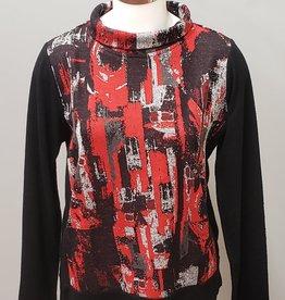 Parsley & Sage Mock Cowl Neck Top, Red/Black