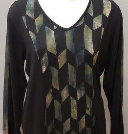 Parsley & Sage Cutwork Top, Green/Black