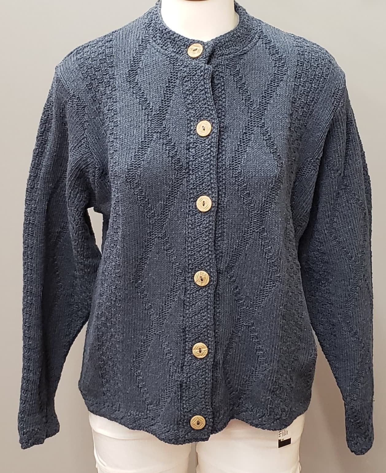 Binghamton Knitting Company Denim Diamond Cardigan